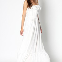 Tabitha georgette frill layer Maxi Dress - Basadress.com