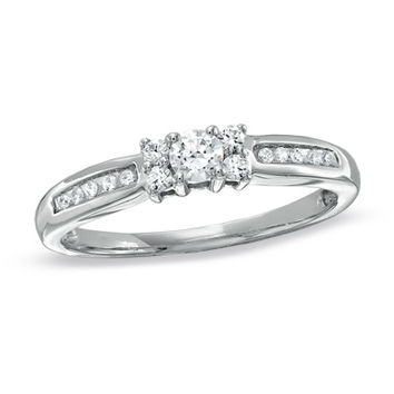 1/4 CT. T.W. Diamond Channel Engagement Ring in 10K White Gold