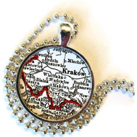 custom Krakow, Zakopane Poland map necklace charm, Custom Poland Map Jewelry