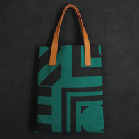 Darkroom Aztec Screen Printed Green Tote - Small - Darkroom - A concept store on London's Lamb's Conduit St