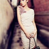 2012 Sexy V-neck One Shoulder With Flowers Short Prom Dress PD1985