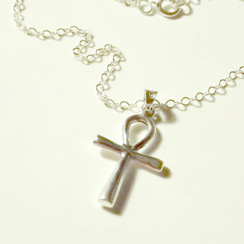 Ankh Cross Necklace Sterling Silver. Ankh Necklace. Silver Ankh Necklace. Egyptian Cross Necklace