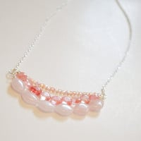 Coral, Peach, and Pink Necklace - Ready to Ship - Rose and Cherry Quartz, Glass beads, semiprecious stones