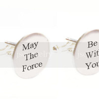 Star Wars Cufflinks May The Force Be With You gift for him guys men father cuff links birthday wedding