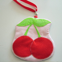SALE - Kitsch Cherry Felt Wristlet .. on Luulla