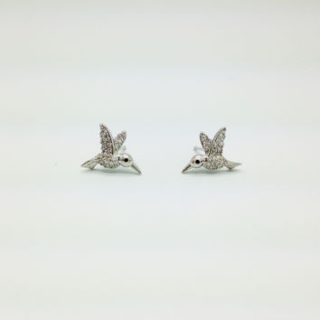 Tai Earrings, Silver and Pave Crystal Hummingbird Earrings - Silver