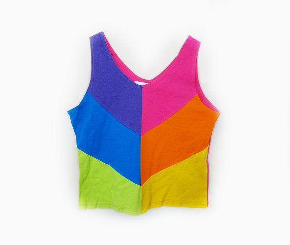 80s Florescent Colorblock Tank - L