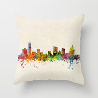 Grand Rapids Michigan Skyline Cityscape Throw Pillow by ArtPause