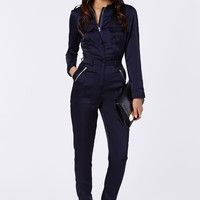 Missguided - Annabelle Utility Style Long Sleeve Jumpsuit Navy