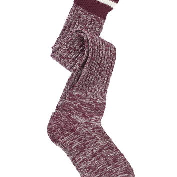 burgundy Striped marled boot socks