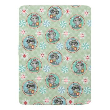 Custom Hipster Cats Christmas Baby Blanket