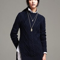 Faux-Leather Trim Cable-Knit Pullover