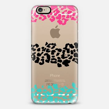 Pink Black Teal Wild Leopard Transparent iPhone 6 case by Organic Saturation   Casetify