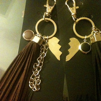 Brown Black and gold leather tassel keychain bag charm. Handmade split heart charm custom personalized  38.00