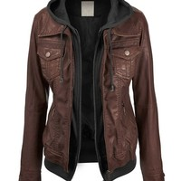 Lock and Love Women's 2-For-One Hooded Faux leather Jacket M COFFEE