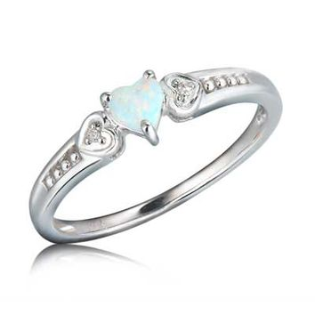 4.0mm Heart-Shaped Lab-Created Opal and Diamond Accent Ring in 10K White Gold