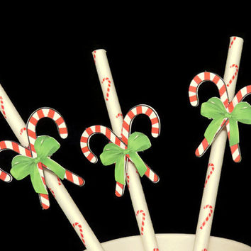 10 Candy Cane Party Straws - Handmade Christmas Party Supplies