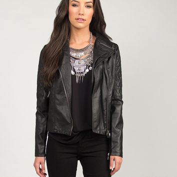 Quilted Sleeved Leather Moto Jacket - Black /