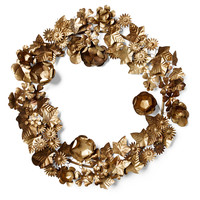 "22"" Metal Ivy Wreath, Gold, Mantelpieces, Garlands & Swag"