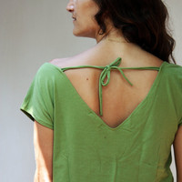 Summer Top with lace stripe, women's T-shirt, green lace top