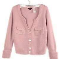 Wool Mohair  Pink Long Sleeve V-Neck Single-Breasted Sweater   style zl825001 in  Indressme