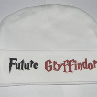 Harry Potter Baby Hat. Future Gryffindor Harry Potter Inspired Beanie Hat. White. One Size Fits Most.