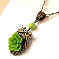 Shabby Chic Apple Green Cherry Blossom Necklace with Lovebirds & Natural Turquoise Gemstone from the Vintage Garden