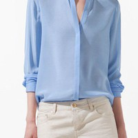 Blue V-neck Placket Long Sleeve Studded Blouse - Sheinside.com