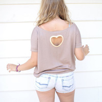 Oversized Heart Cutout Top in Beige and Peach