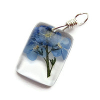 Dried Flower Resin Pendant, Pressed Flower Pendant, Forget Me Not Pendant, Real Flower Jewellery, Botanical, Rectangular