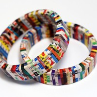 Recycled Magazine Eco Friendly Bangle Bracelet  by SquishySushi