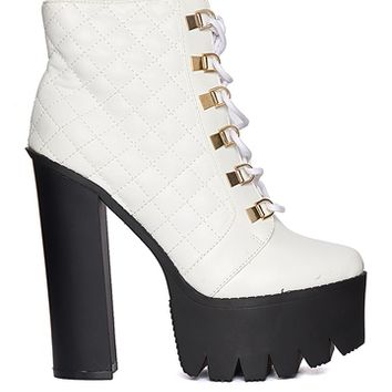 Bumper Rocker17 Quilted Platform Booties - White from Bumper Shoes at ShopRoxx.com