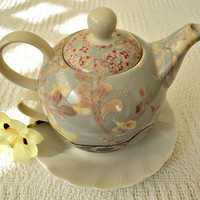 SerendipityDesigns50 | Vintage Gray Floral w/Sketched Bird Fine China Tea for One Set~ | Online Store Powered by Storenvy