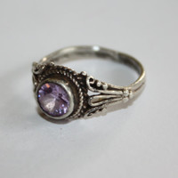 Sterling Ring Amethyst Filigree  Vintage 1970s  Engagement Jewelry
