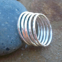 Silver Stack Rings Fine Silver Jewelry Hammered Rings Size 8 Set of Five