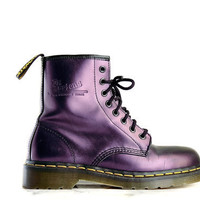 90's Metallic Purple Lace up Doc Martens Boots // 8