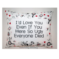 Cross Stitch Pillow Funny Quote, Red White And Black Pillow, Ugly Love Quote