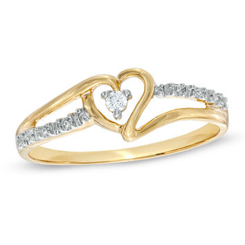 Heart-Shaped Diamond Accent Ring in 10K Gold