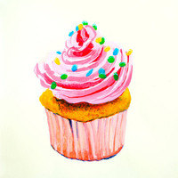 Pink Cupcake Original Acrylic Painting