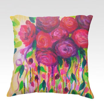 ROSES ARE RAD - Fine Art Velveteen Throw Pillow Cover 18 x 18 Abstract Floral Pink Red Romantic Flowers Modern Home Decor Painting Cushion