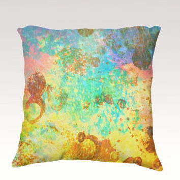 TO THE MOON Fine Art Velveteen Throw Pillow Cover 18 x 18 Abstract Green Turquoise Cerulean Lime Space Modern Galactic Home Decor Painting