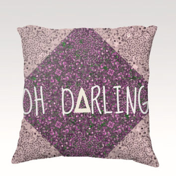 OH DARLING, Art Typography Velveteen Throw Pillow Cover 18x18 Abstract Hipster Polka Dot Geometric Purple Modern Dorm Home Decor Painting