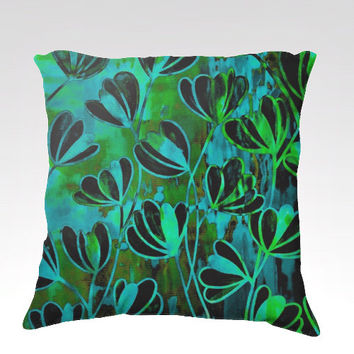 EFFLORESCENCE Bold Deep Green Turquoise Blue Floral Art Velveteen Throw Pillow Cover 18x18 Flowers Pattern Modern Dorm Home Decor Painting