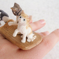 Three Kittens Ring Cat Jewelry Upcycled Schleich Toy