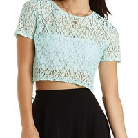 Boxy Lace Crop Top by Charlotte Russe - Pale Mint