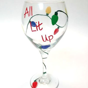 All Lit Up Christmas Lights hand-painted wine glass