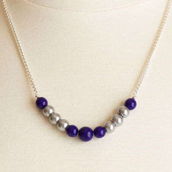 SALE!!! Blue and Platinum Beaded Chain Necklace