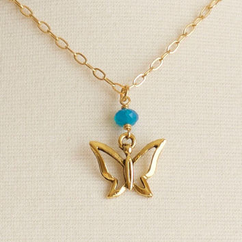 Gold Butterfly Necklace, Gold Filled Chain Necklace