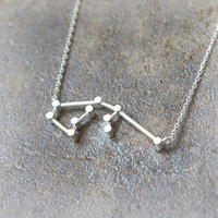 Aquarius Zodiac Sign Necklace / silver plated brass or sterling silver