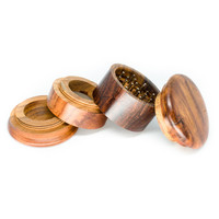 Four Part Wood Grinder for Herbs - 4 Inches - Assorted Carving
